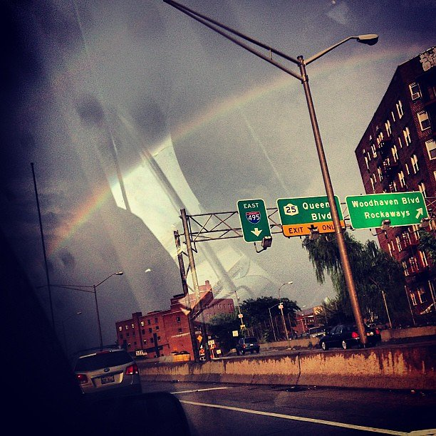 A rainbow leading our way to JFK... off to Portland.